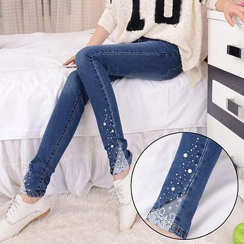 Fashion new female diamante jeans womens embroidered flares lace patchwork denim trousers ladies mid waist slim fit denim pants