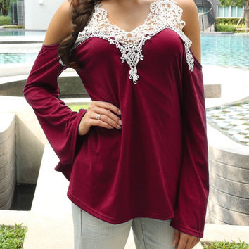 Contrast Lace Paneled Bell Sleeve Top