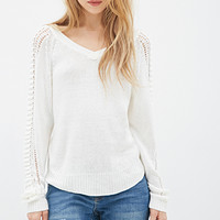Open Knit-Sleeve Sweater