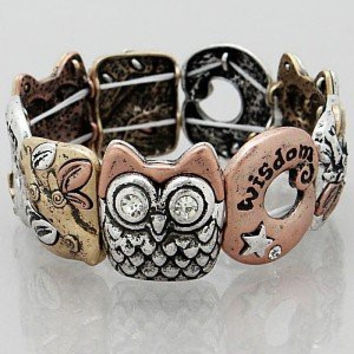 Womens Jewelry, OWL Wisdom Bracelets Color : Multi Plated Size : Height:1inch