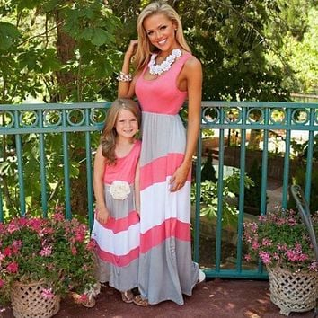 2018 Summer Mom & Me Coral, White Gray Maxi Dress Kids
