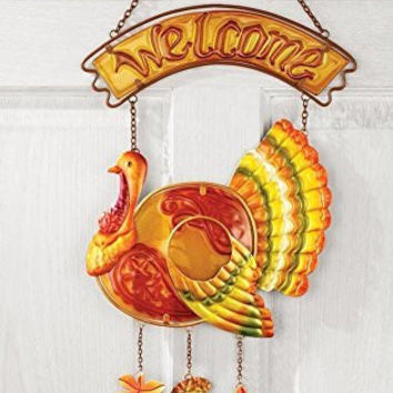 Turkey Glass Hanging Door Decor Thanksgiving Holiday Welcome Sign