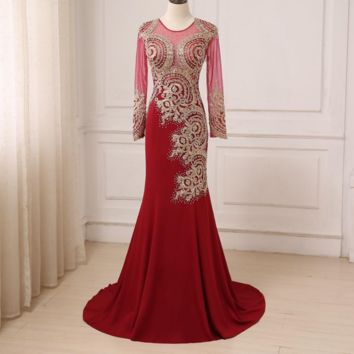 Luxury Gold Lace Applique Long Evening Dresses Sexy Illusion Formal Prom Party Dress Burgundy
