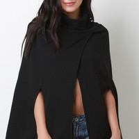 Turtleneck Wrap Cape Jacket
