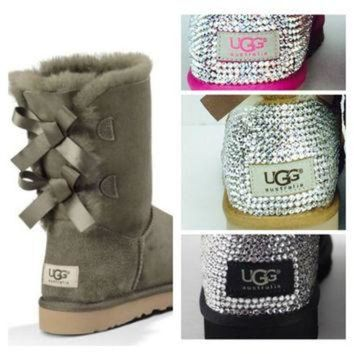 DCCK8X2 Custom UGG Boots made with Swarovski Bailey Bow Free: Shipping, Repair Kit, Cleaning K
