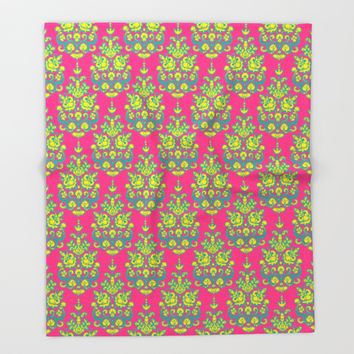 Kala damask ikat Throw Blanket by Sharon Turner
