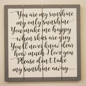 You Are My Sunshine Wood Sign Nursery Wall Art Boys Nursery Girls Nursery Vintage Nursery Above Crib Sign Nursery Wall Decor New Baby