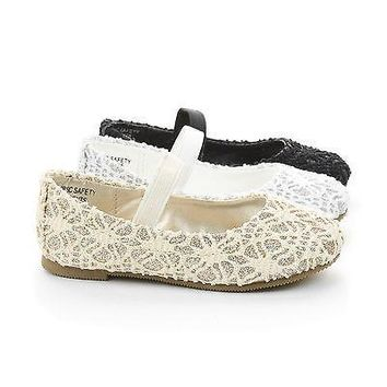ScolyIISQ By Happy Soda, Infant Girl Lace Mary Jane Slip On Ballerina Dress Flats