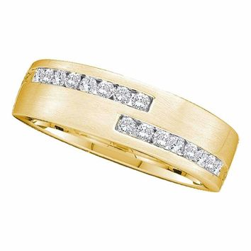 14kt Yellow Gold Men's Round Diamond Double Row Wedding Band Ring 1/2 Cttw - FREE Shipping (US/CAN)