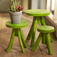 Chartreuse Wooden Stools - Set of 3