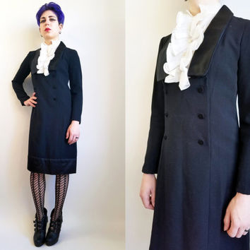 70s Clothing Tuxedo Dress 70s Dress Victorian Style Dress Black White Dress Gothic Dress 70s Goth Mourning Funeral Holiday Dress Size Medium