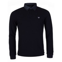 Armani Jeans Navy Long Sleeved Polo Shirt