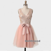 Amazing pink soft tulle bowknot short prom dress / bridesmaid dress
