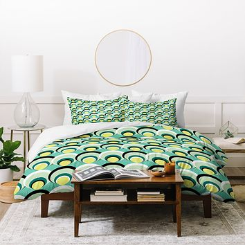 Raven Jumpo Blue Green Scallops Duvet Cover