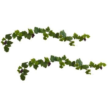 Artificial Garland -6 Foot Grapevine Leaf Deluxe Garland With Grapes -Set Of 2