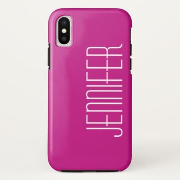 Hot Pink, Personalized, Jumbo Custom Name, Elegant iPhone X Case