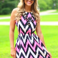 Pop Of Pink Chevron Dress
