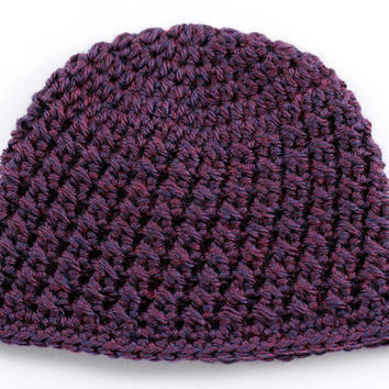 Purple Cross Stitch Crochet Baby Hat // Textured Baby Beanie // 3 to 6 Months