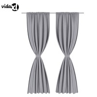 vidaXL 2Pcs Slot Window Curtain Sets Solid Color Modern Curtains For BedRoom Home Decoration Curtains Blackout  Stocked