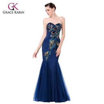 Robe de Soiree Peacock Evening Dress Grace Karin 2017 Black Royal Blue Long Mermaid Formal Evening Gowns Wedding Party Dresses