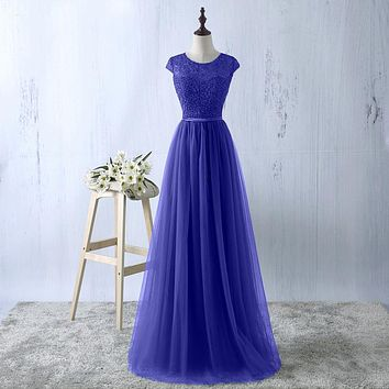 YIDINGZS Navy Blue Prom Dress 2018 New Arrive Lace Tulle A-line Formal Long Evening Party Dress