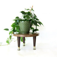 Vintage small table / plant stand // small round stool