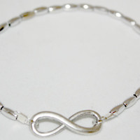 Silver #Infinity Stretch #Charm #Bracelet with Silver Beads, 7.5 inches, #Stackable for #Eternity #infinity