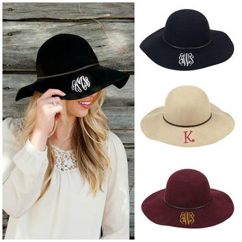 Monogrammed Floppy Hat Wool Personalized Cap Embroidered Black Wine Maroon Natural Custom Made