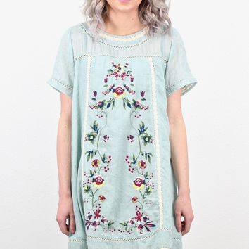 Summer Breeze Embroidered Front Sundress {L. Blue} EXTENDED SIZES