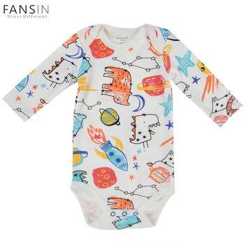 Cute Baby Romper Long Sleeve Infant Newborn Cartoon Dinosaur Rocket Pattern Jupsuit Baby Clothes Infantil Next Body Winter