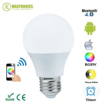 New Magic Blue 4.5W E27 RGBW led light bulb Bluetooth 4.0 smart lighting lamp color change dimmable AC85-265V for home hotel
