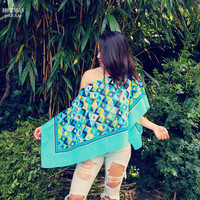 Bohemian Poncho Top Shirt Size XS - 3XL Off Shoulder Boho Hippie Women's One Size Upcycled Clothing Recycled Eco Friendly Clothing OOAK