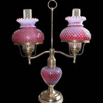 HUGE Vintage Fenton Cranberry Hobnail Opalescent Double Arm Lamp,charming,Shabby Chic,tabletop