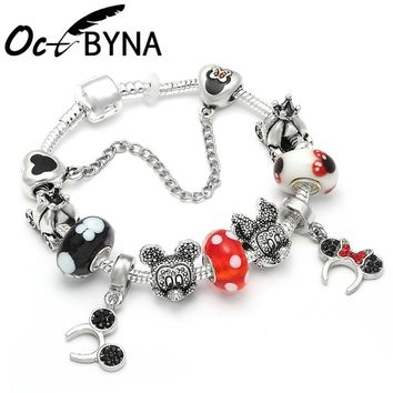 Octbyna Carton Red Mickey Pandora Charm Bracelets Bangles for Women with Mouse Murano Glass Beads Bracelet Fashion Kids Gifts