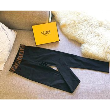 FENDI New Trending Women Stylish Letter Print Stretch Pants Trousers Leggings Coffee I13356-1