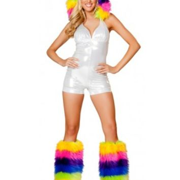 1pc White Romper with Colored Fur Hood Rave Clothing - Rave Wear