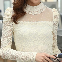2016 New fashion Women's Spring Stand Pearl Collar Lace Crochet Blouse Shirts, long sleeve sexy tops for women