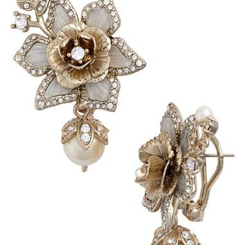 Marchesa Crystal & Faux Pearl Drop Earrings | Nordstrom