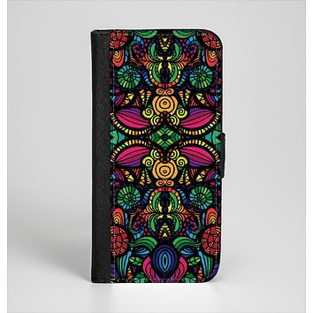 The Neon Colored Vector Seamless Pattern Ink-Fuzed Leather Folding Wallet Case for the iPhone 6/6s, 6/6s Plus, 5/5s and 5c