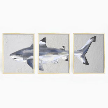 Black Tip Reef Shark Triptych Wall Art Print