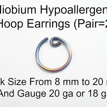 PAIR Niobium Hoop Earrings 20 or 18 ga Peacock Rainbow. Pick Size from 8 mm to 20 mm. Sleeper. Hypoallergenic.