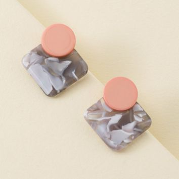 Two-Tone Resin Earrings