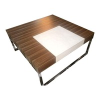 Pre-owned Modern Wood and Chrome Coffee Table