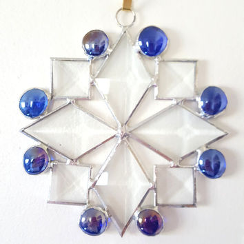 Beveled Stained Glass Snowflake Suncatcher with Colbalt Blue Glass Nuggets, Snowflake Ornament, Christmas Decoration, Hostess Gift
