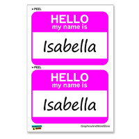 Isabella Hello My Name Is - Sheet of 2 Stickers