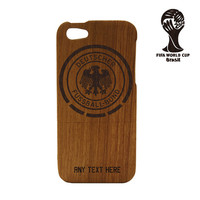 Wood iPhone 5 case - World Cup iPhone case Germany Soccer Team - Germany World Cup Natural Wood iPhone Case Engraved, Futbol, Brazil, Soccer