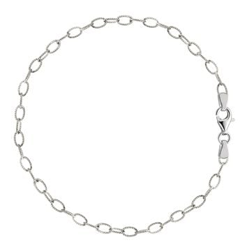 Oval Shaped Twisted Cable Link Anklet In Sterling Silver