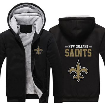 NFL American football Men's winter casual jacket Warm thicken hoodies New Orleans Saints