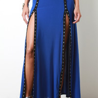 Snap Buttons M-Slit Maxi Skirt