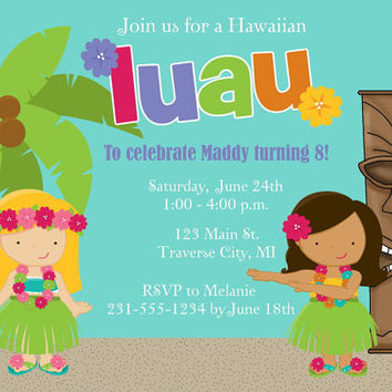 Luau Invitation - Printable - Choose Hair and Skin Colors